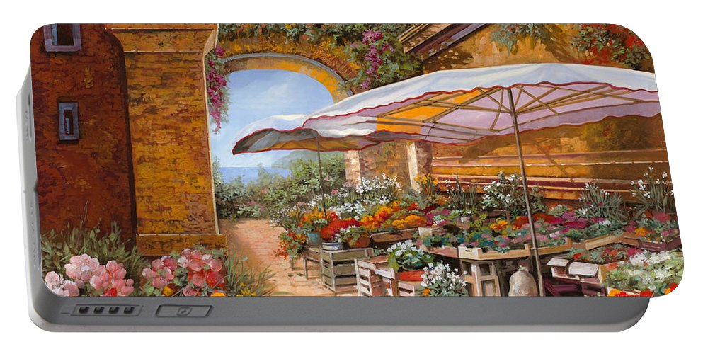 Market Portable Battery Charger featuring the painting Il Mercato Sotto I Portici by Guido Borelli