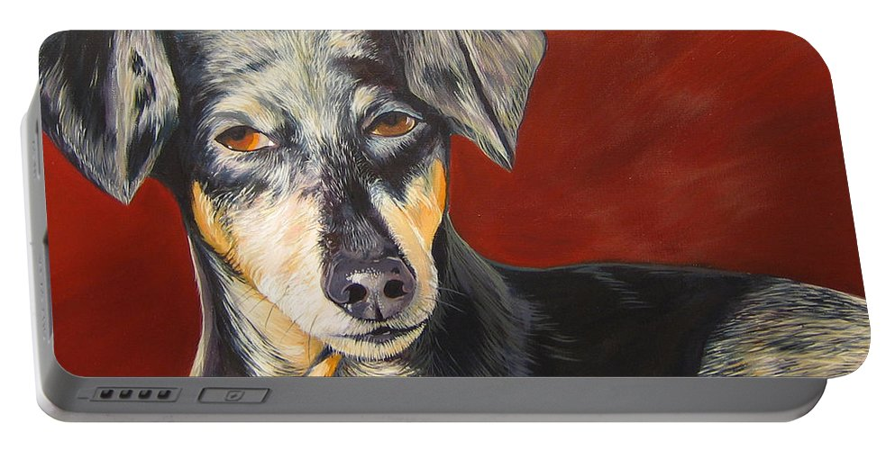 Dog Portable Battery Charger featuring the painting I'll Be With You Momentarily by Hunter Jay