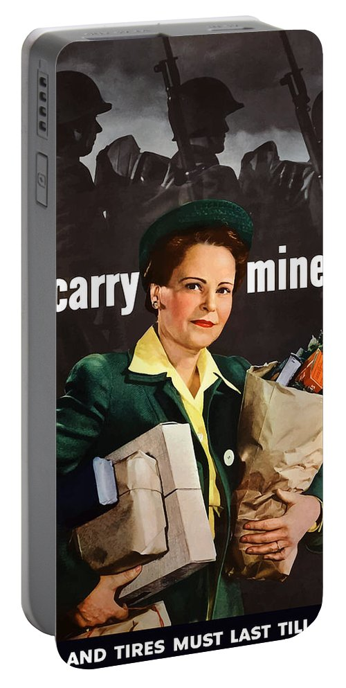 Housewife Portable Battery Charger featuring the painting I'll Carry Mine Too by War Is Hell Store