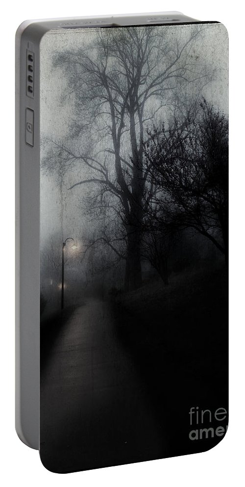 Dark Walkway Portable Battery Charger featuring the photograph I'll Walk With You Tonite by Michael Eingle