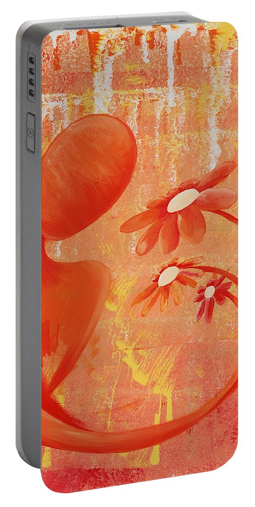 Illusion Portable Battery Charger featuring the painting Illusion Rainbow Soul Collection by Catt Kyriacou