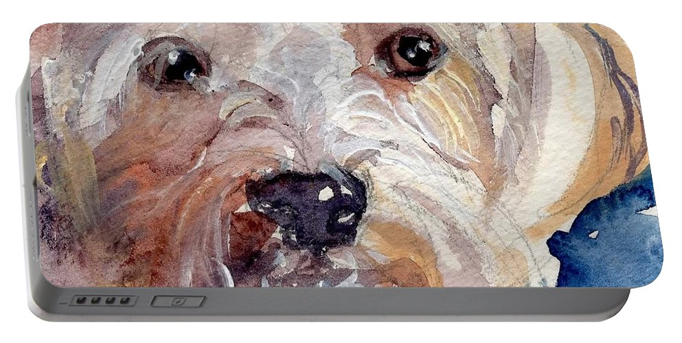 Cute Pup Portable Battery Charger featuring the painting I'm Cute Too by Sheila Wedegis