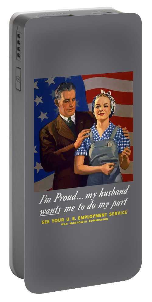 American Flag Portable Battery Charger featuring the painting I'm Proud... My Husband Wants Me To Do My Part by War Is Hell Store