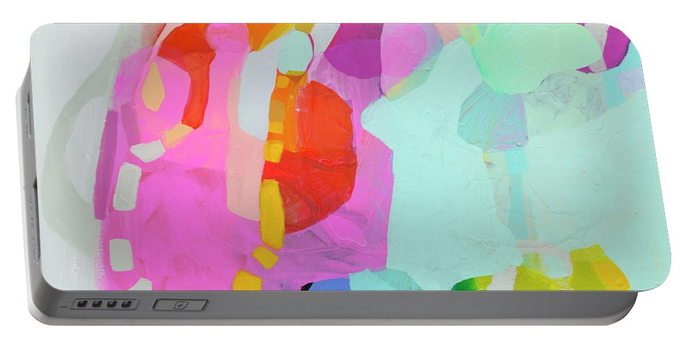 Abstract Portable Battery Charger featuring the painting I'm So Glad by Claire Desjardins