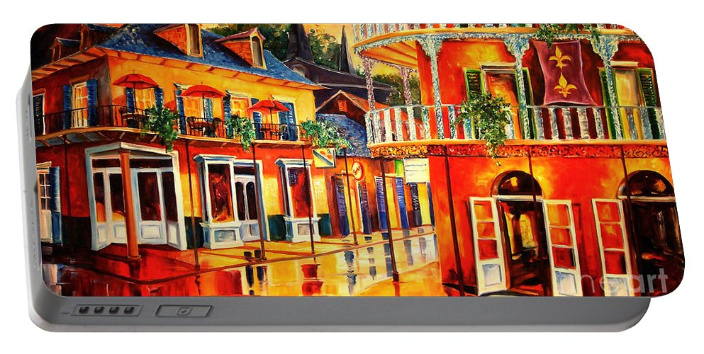 New Orleans Portable Battery Charger featuring the painting Images Of The French Quarter by Diane Millsap