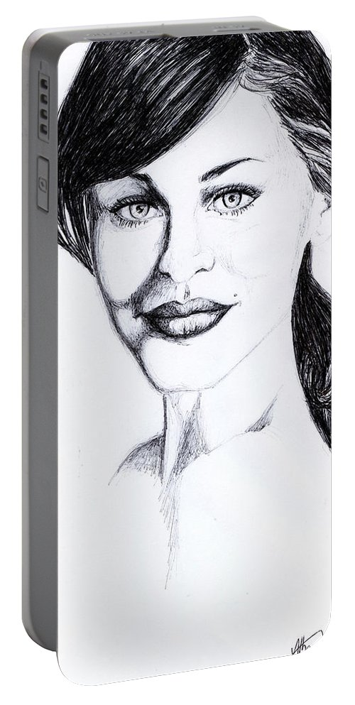 Portable Battery Charger featuring the drawing Imaginative Portrait Drawing by Alban Dizdari