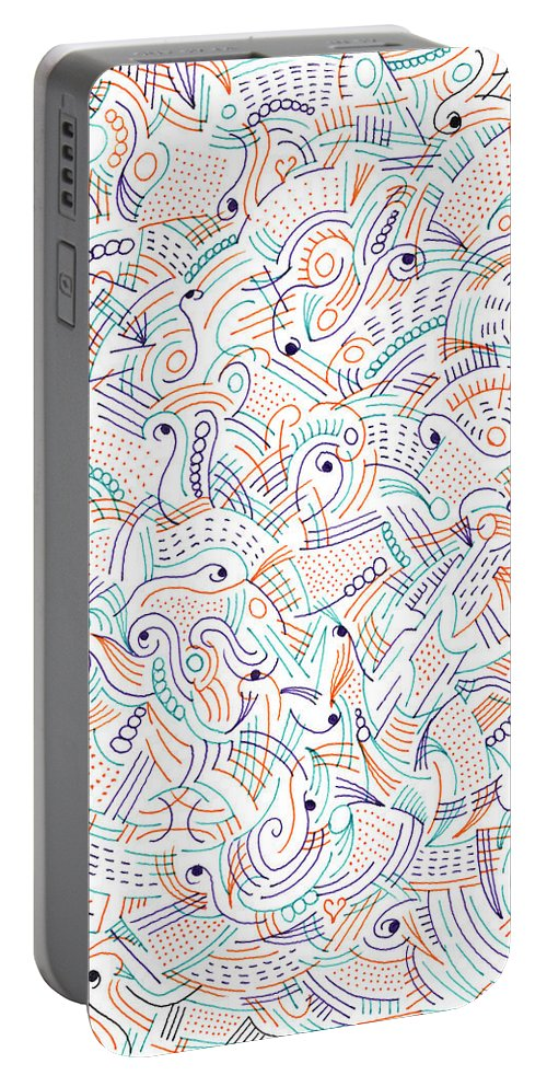 Mazes Portable Battery Charger featuring the drawing Imagine by Steven Natanson