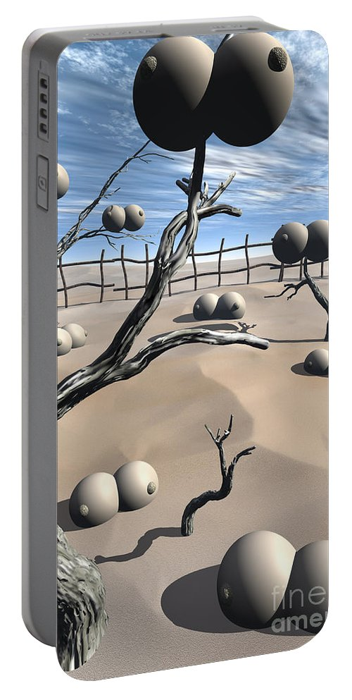 Humor Portable Battery Charger featuring the digital art Imm Plants by Richard Rizzo