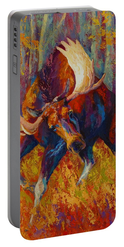 Moose Portable Battery Charger featuring the painting Imminent Charge - Bull Moose by Marion Rose