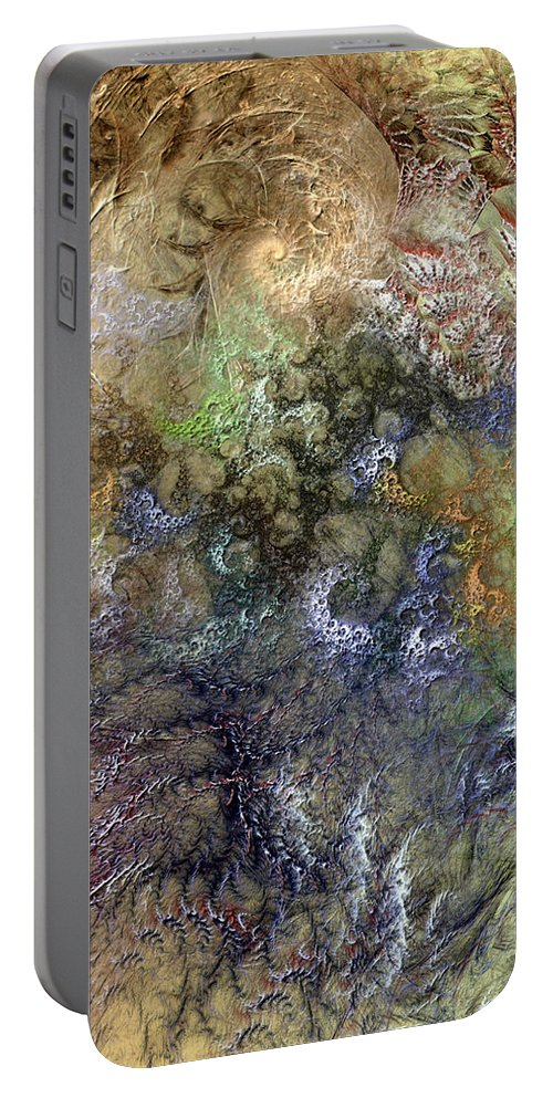 Abstract Portable Battery Charger featuring the digital art Imperialistic Miasma by Casey Kotas