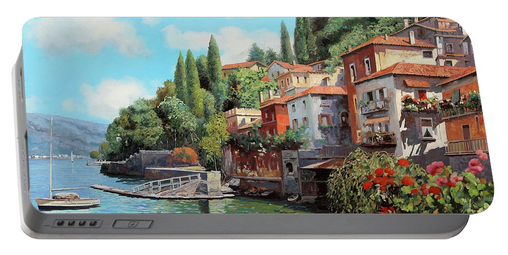 Lake Como Portable Battery Charger featuring the painting Impressioni Del Lago by Guido Borelli