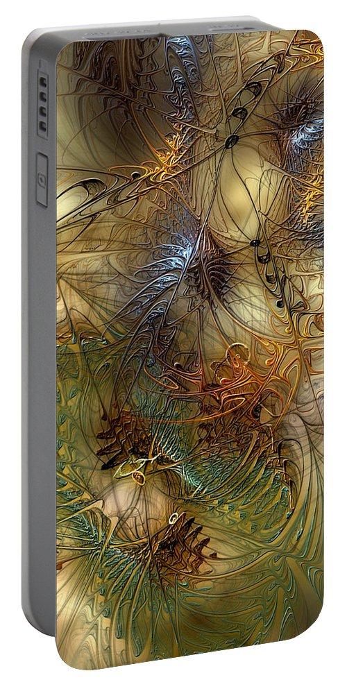 Abstract Portable Battery Charger featuring the digital art Improvisation For Mahavishnu by Casey Kotas