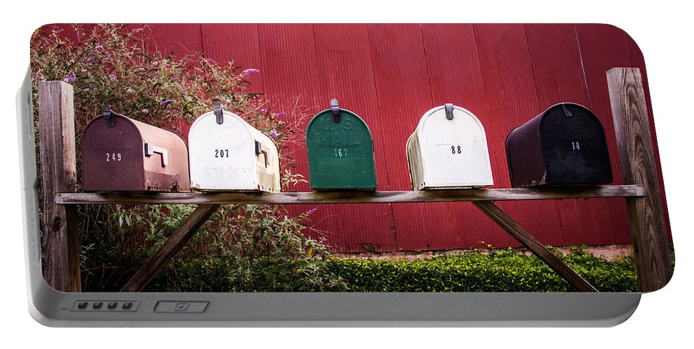 Barn Portable Battery Charger featuring the photograph In A Row by Parker Cunningham