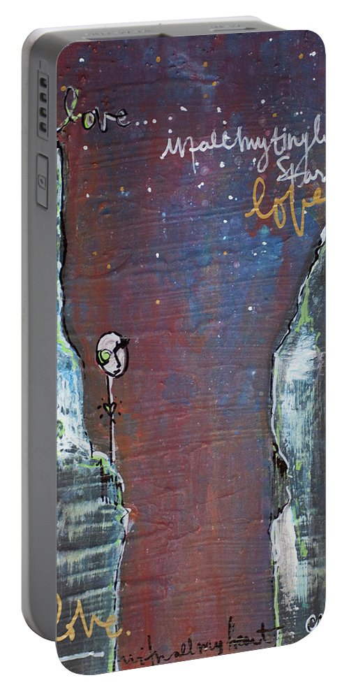 Cliffs Portable Battery Charger featuring the painting In All My Tiny Little Stars by Laurie Maves ART