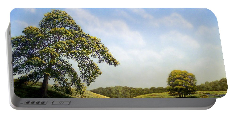 Landscape Portable Battery Charger featuring the painting In Bloom by Frank Wilson