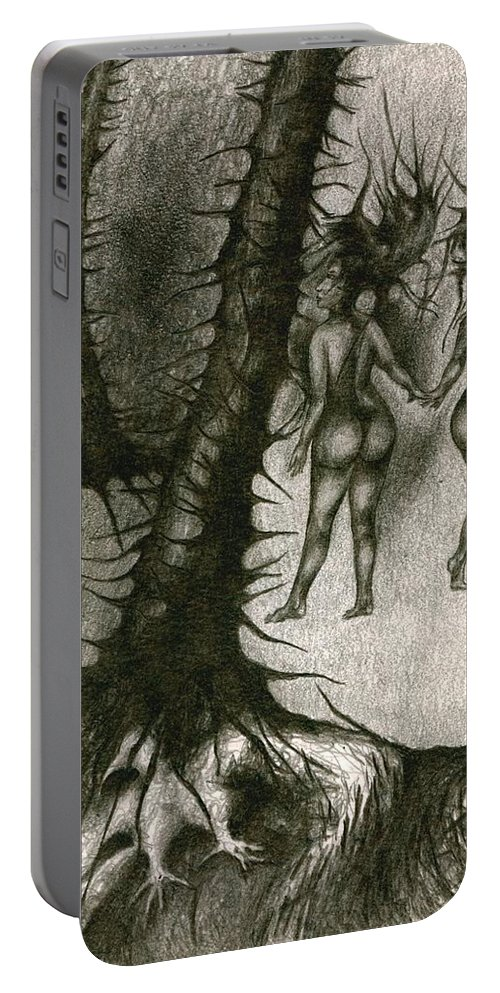 Joy Portable Battery Charger featuring the drawing In Concealment by Wojtek Kowalski