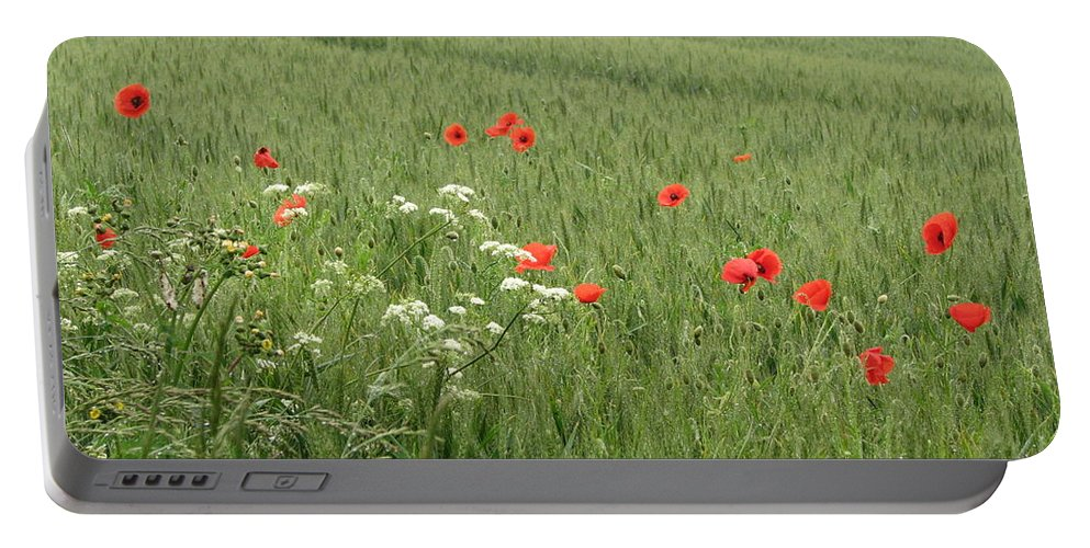 Lest-we Forget Portable Battery Charger featuring the photograph in Flanders Fields the poppies blow by Mary Ellen Mueller Legault