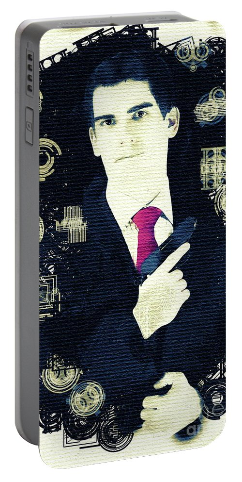 Spy Portable Battery Charger featuring the painting In From The Cold - Spy by Sarah Kirk