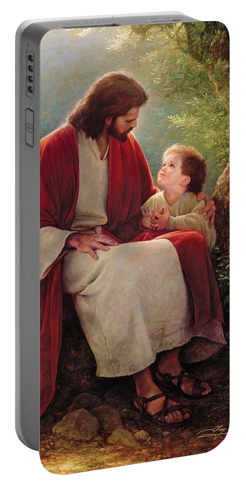 Jesus Portable Battery Charger featuring the painting In His Light by Greg Olsen