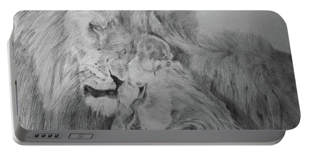 Lion Wild Cats Animals Drawing Paper Portable Battery Charger featuring the drawing In Love by Nadi Sabirova