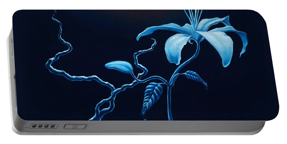 Lily Flower Portable Battery Charger featuring the painting In Memorial by Jennifer McDuffie