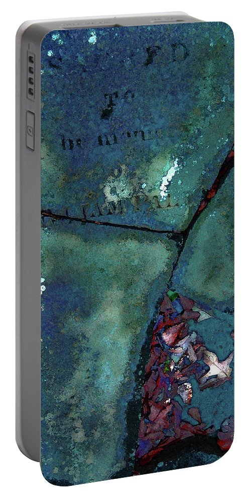 Headstone Portable Battery Charger featuring the photograph In Memory by Mykel Davis