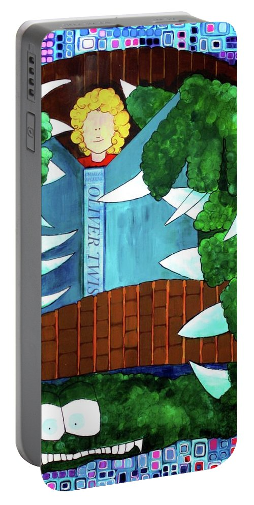 Whimsical Portable Battery Charger featuring the painting In My Room by Donna Howard