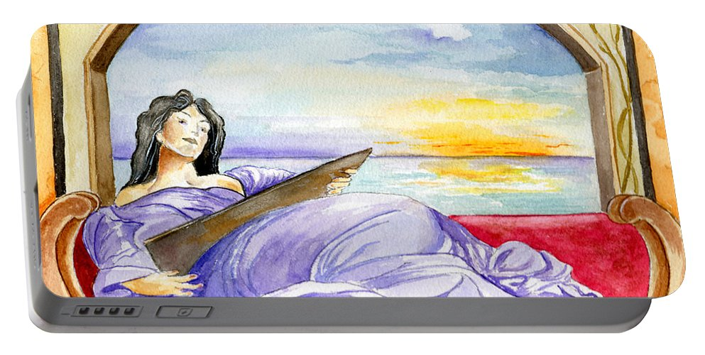 Landscape Woman Romantic Figure Window Sea Sky Portable Battery Charger featuring the painting In Paradisum by Brenda Owen