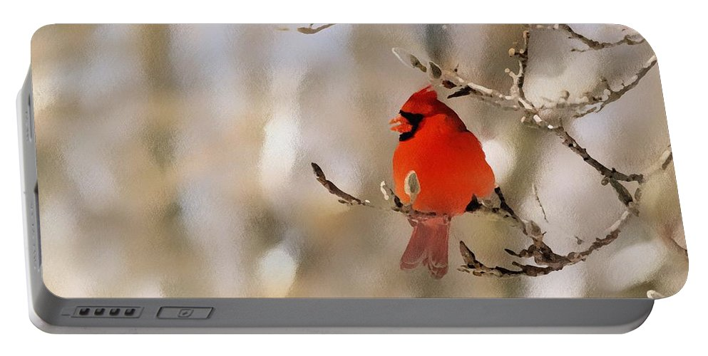 Cardinal Portable Battery Charger featuring the photograph In Red by Gaby Swanson