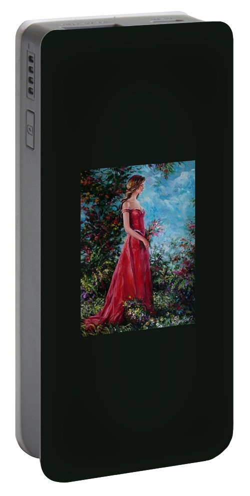 Figurative Portable Battery Charger featuring the painting In Summer Garden by Sergey Ignatenko
