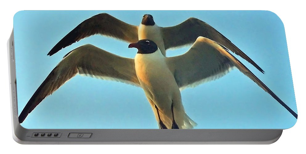 Seagulls Portable Battery Charger featuring the photograph In Tandem At Sunset by Sandi OReilly