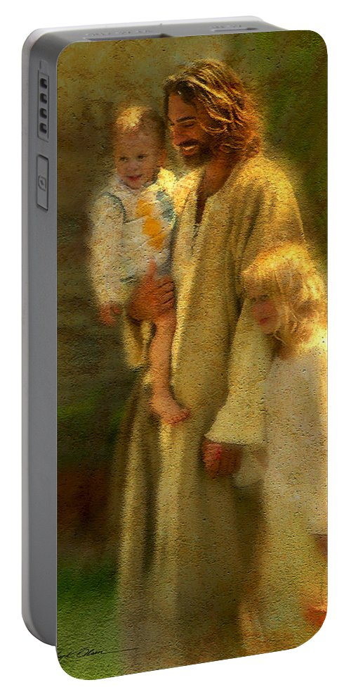 Jesus Portable Battery Charger featuring the painting In the Arms of His Love by Greg Olsen