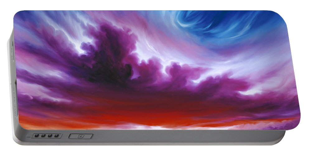 Sunrise; Sunset; Power; Glory; Cloudscape; Skyscape; Purple; Red; Blue; Stunning; Landscape; James C. Hill; James Christopher Hill; Jameshillgallery.com; Ocean; Lakes; Genesis; Creation; Quantom; Singularity Portable Battery Charger featuring the painting In The Beginning by James Christopher Hill