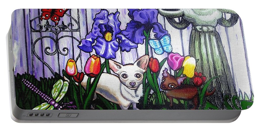 Dog Portable Battery Charger featuring the painting In The Chihuahua Garden Of Good And Evil by Genevieve Esson