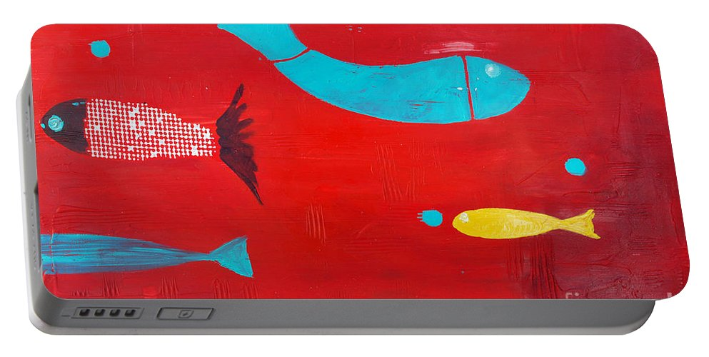 Fish Portable Battery Charger featuring the painting In The Clouds Part 2 by Jose Luis Montes
