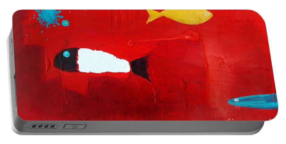 Fish Portable Battery Charger featuring the painting In The Clouds Part 3 by Jose Luis Montes