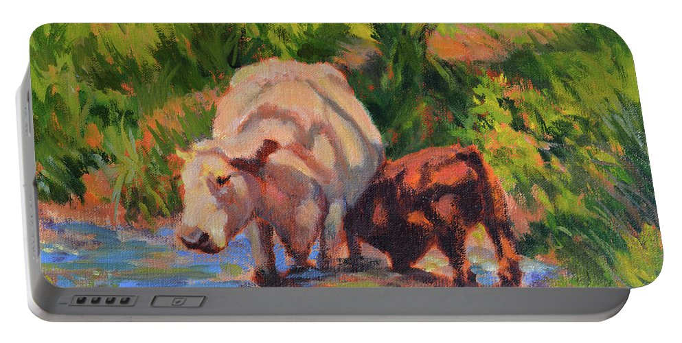 Impressionism Portable Battery Charger featuring the painting In The Creek by Keith Burgess
