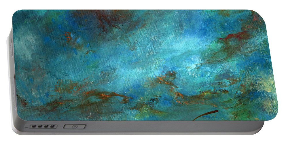Impressionistic Seascape Portable Battery Charger featuring the painting In The Deep by Sharon Abbott-Furze