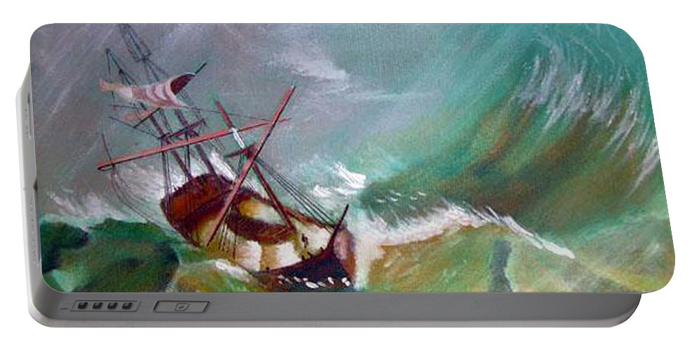 Sailing Ship Portable Battery Charger featuring the painting In The Eye Of The Storm by Richard Le Page