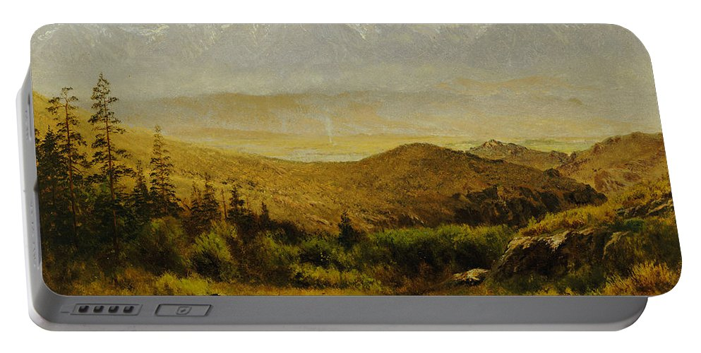 Albert Portable Battery Charger featuring the painting In The Foothills Of The Rockies by Albert Bierstadt