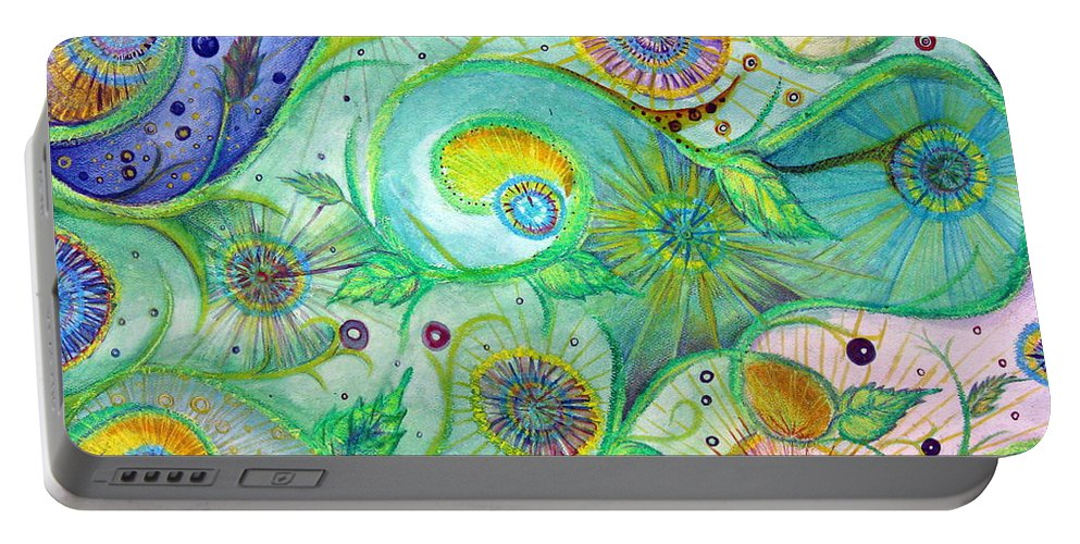 Landscape Portable Battery Charger featuring the drawing In The Garden by Amanda Kabat