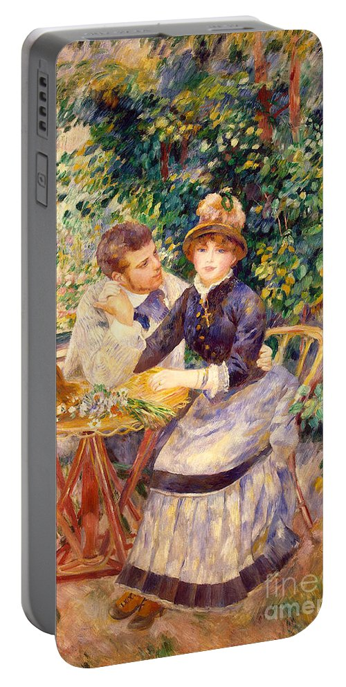 Impressionism; Impressionist; Male; Female; Relationship; Lovers; Flirtation; Coy; Seated; Attentive; Wooing; Flowers; Persistence; Persistent Portable Battery Charger featuring the painting In The Garden by Pierre Auguste Renoir