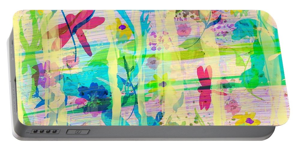 Abstract Portable Battery Charger featuring the digital art In The Garden by Rachel Christine Nowicki