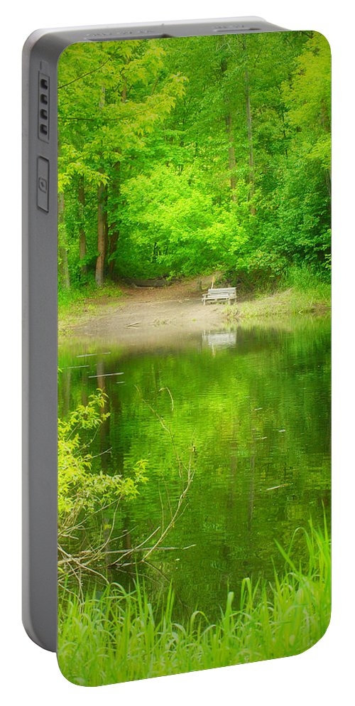 Bench Portable Battery Charger featuring the photograph In The Green by Tara Turner
