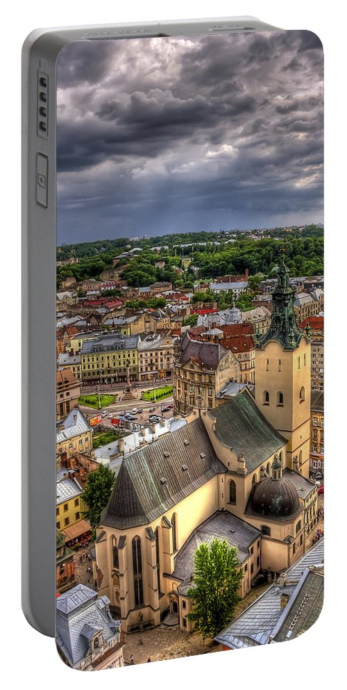 Above Portable Battery Charger featuring the photograph In The Heart Of The City by Evelina Kremsdorf