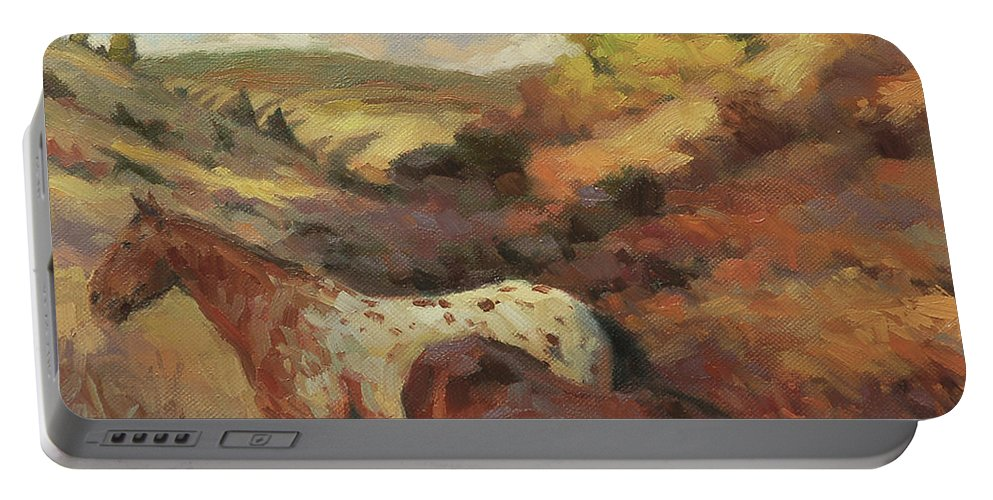 Horse Portable Battery Charger featuring the painting In the Hollow by Steve Henderson