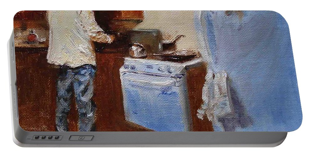Cooking Portable Battery Charger featuring the painting In The Kitchen by Barbara Andolsek