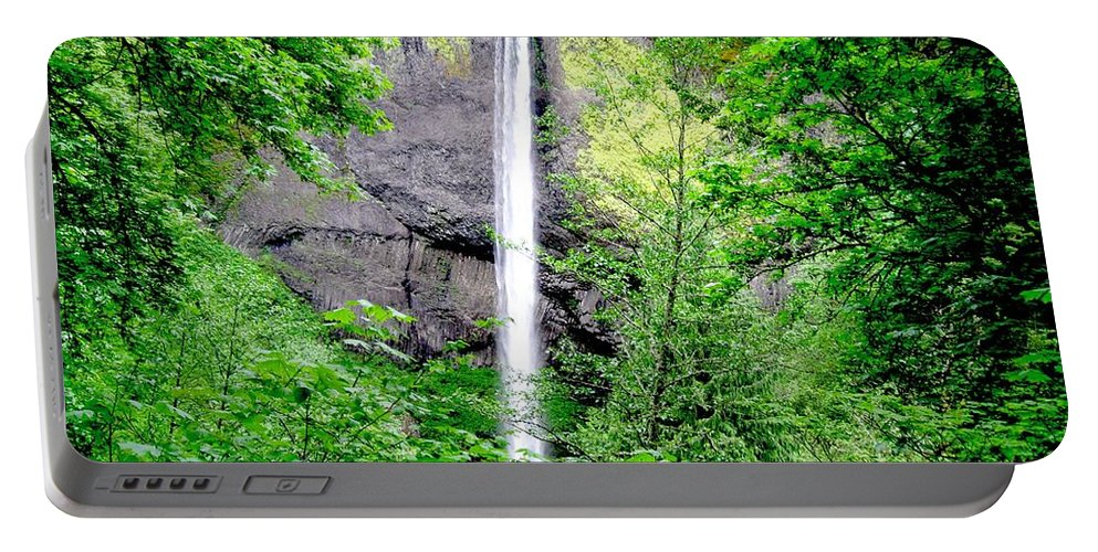 Waterfall Portable Battery Charger featuring the photograph In The Middle by Emilia Brasier