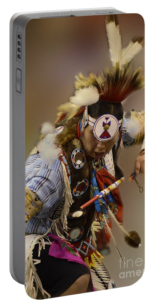 Pow Wow Portable Battery Charger featuring the photograph Pow Wow In The Moment by Bob Christopher