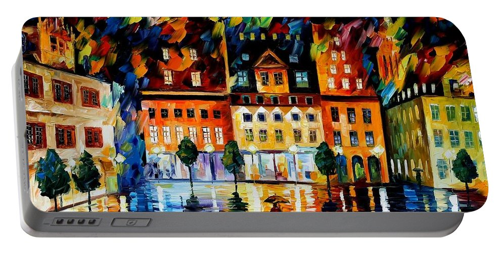 Afremov Portable Battery Charger featuring the painting In The Old City by Leonid Afremov